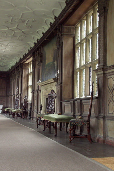 The Long Gallery was used as an indoor promenade, a gameroom, a sewing room where women did their needlework, and a ballroom. Its oak panelling features classical scenes.