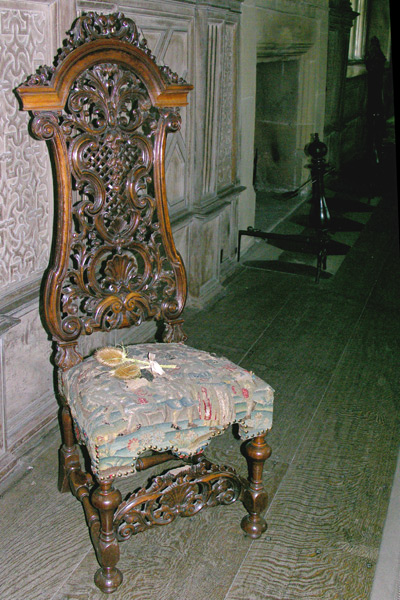 A 17th century walnut chair in the Long Gallery