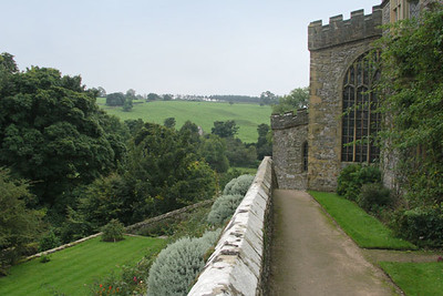 Side of Haddon Hall, countryside view
