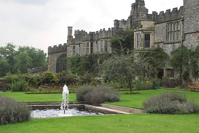 Haddon Hall, view of fountain from garden