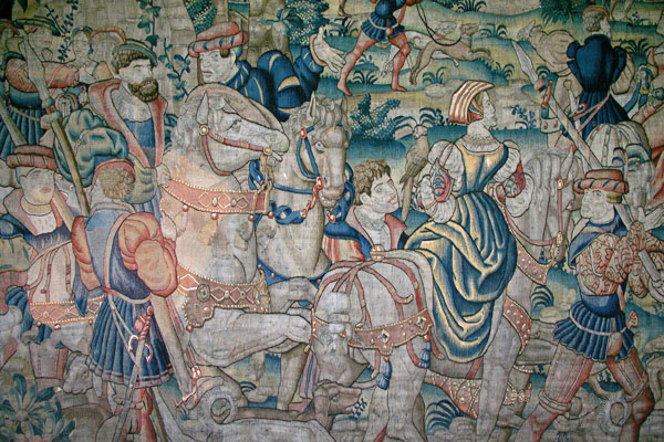 The beautiful tapestries have been lovingly restored. This hunting scene (Brussels, circa 1570), is in the State Bedroom which is where the king stayed when visiting. Charles II slept here.