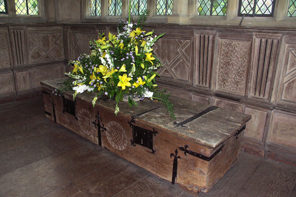Another view of the old chest at the end of the Long Gallery