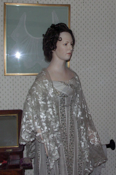 A model from a small exhibit of Regency clothing at the Jane Austen museum