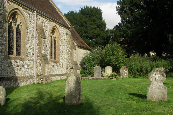 The graveyard of Chawton church, where her sister Cassandra and mother Cassandra were buried