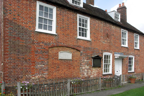 Another view of the Jane Austen house and museum in Chawton. The cottage had six small bedrooms and two small drawing rooms. Two floors (not the attic rooms) are open to the public.