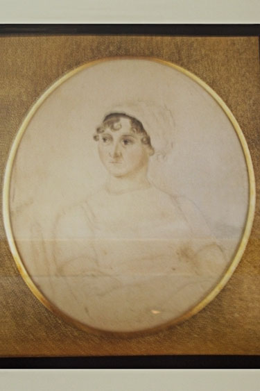 Inside the Austen museum. The famous watercolor sketch of Jane Austen created by her beloved sister Cassandra in 1810 (when Austen was 34). The original drawing is at the National Portrait Gallery in London.