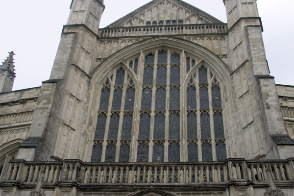 A view of a portion of the front of the very large and splendid Winchester cathedral