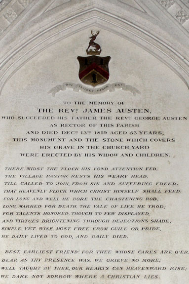 Jane's eldest brother James, who became rector after their father's death, was buried at Steventon church.