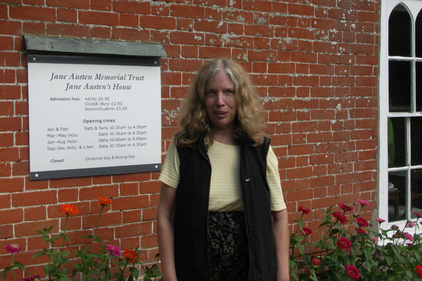A not very good picture of me taken by Phil in front of the Jane Austen museum