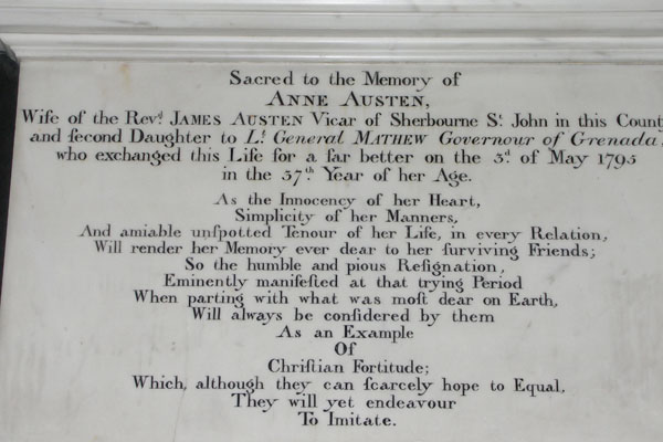 Anne, the wife of James Austen, was also buried here.