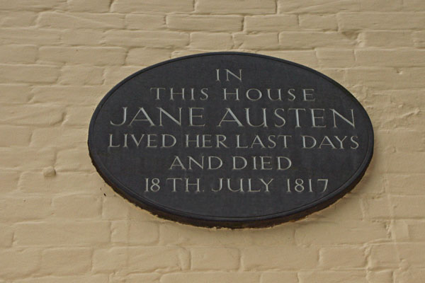 Plaque on the house where Jane last lived. She was 41 when she died.