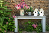 An outdoor garden table with flowers in the village of Lacock, Wiltshire, England.