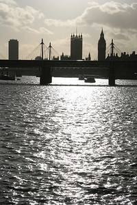Westminster, seen from under the north end of Waterloo Bridge.