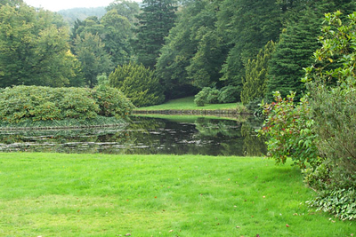 The pond from the gardens behind the house