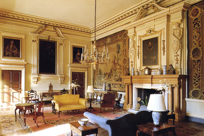 Since photography of the interior wasn't permitted, I had to scan the guidebook and postcards for pictures. This is the entrance hall, early 18th century. A 16th century painting of Sir Peter Legh hangs over the fireplace. A famous 17th century Mortlake Hero and Leander tapestry is also here.