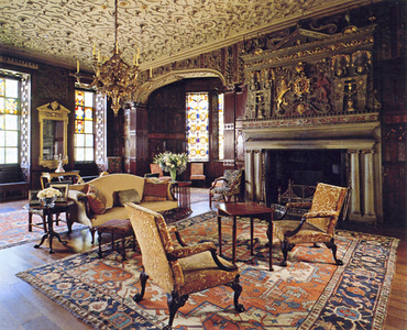 The drawing room is Elizabethan/Jacobean and highly ornate. It would have been used by the Legh family for informal private dining. The overmantel portrays the arms of Elizabeth I. The early 17th century ceiling contains intricate strapwork.