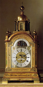 An 8-day musical clock, circa 1735, from Francis Legh's clock collection.