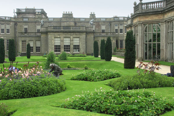 View of the gardens from behind Lyme Park