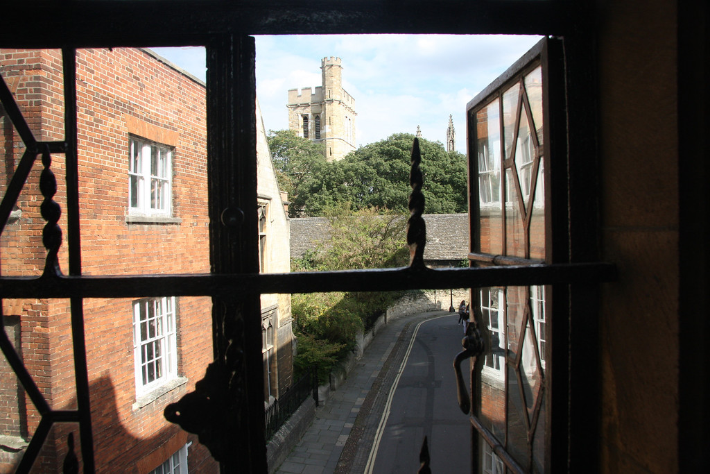 view from inside the Bridge of Sighs, over New College Lane in Oxford.