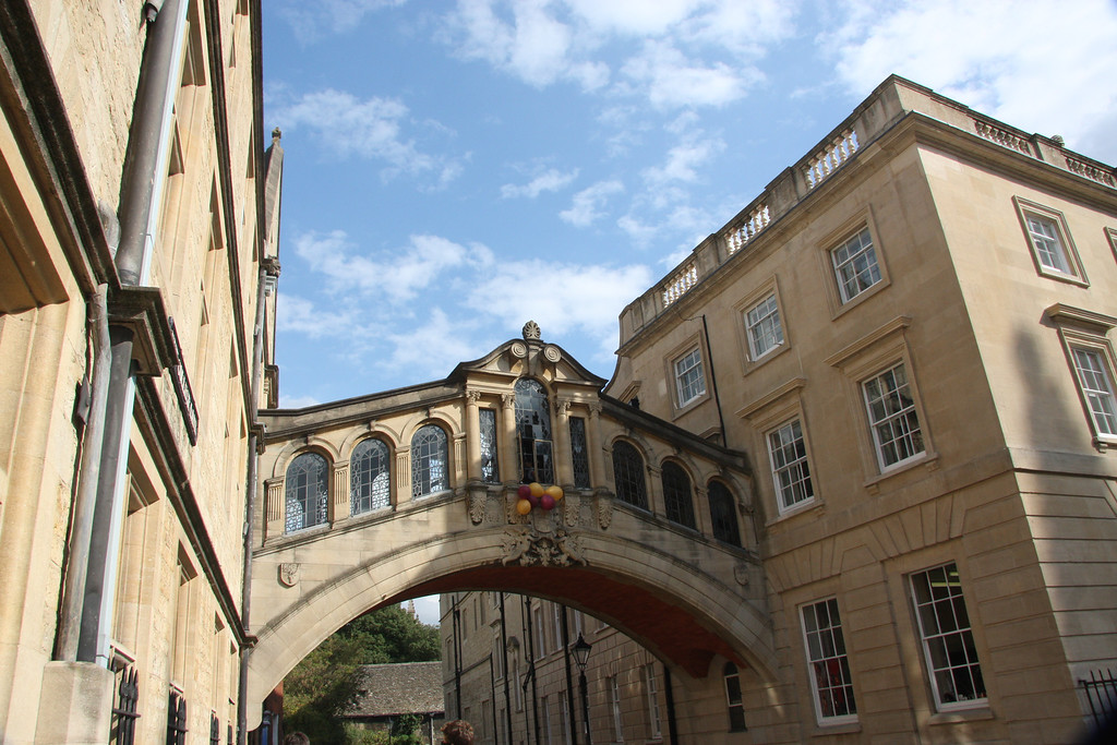 Hertford Bridge, Herford College, is more popularly known as the Bridge of Sighs, over New College Lane in Oxford.