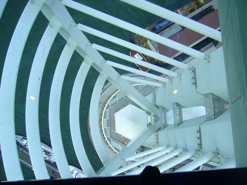 Looking down through the clear glass floor panels of the Spinnaker Tower. May  2006