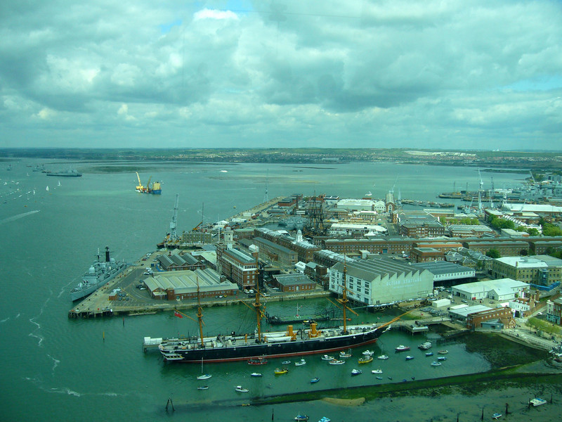 a broad harbour view  from the tower with HMS Warrior and HMS Victory from Spinnaker Tower, Portsmouth England