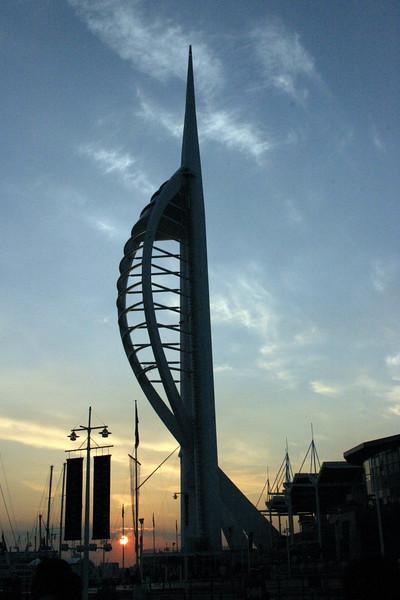 Spinnaker Tower, Portsmouth England at sunset June 2005.