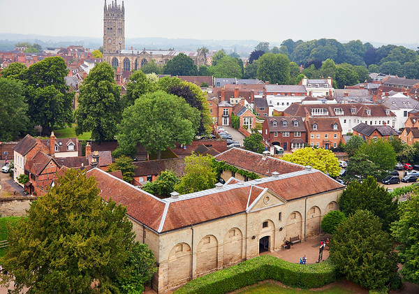 View of Warwick and Collegiate Church of St Mary from Warwick Castle
