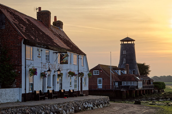 The Royal Oak pub and Old Mill, Langstone, near Portsmouth, dawn