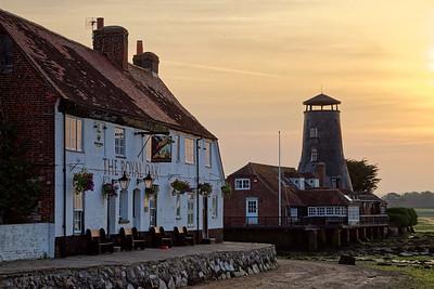 The Royal Oak pub and Old Mill, Langstone, near Portsmouth, dawn