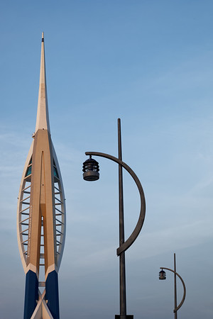 Emirates Spinnaker Tower with lampposts in Portsmouth