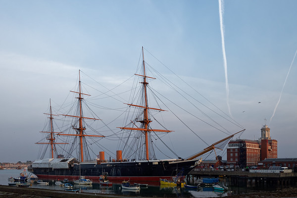 HMS Warrior, the first iron clad warship, on The Hard in old Portsmouth