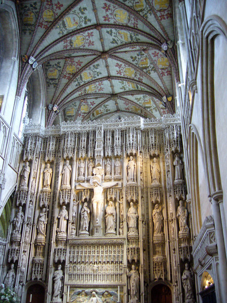 The Wallingford Screen of c. 1480—the statues are Victorian replacements (1884–89) of the originals, destroyed in the Dissolution of the Monasteries in 1539. St. Albans Cathedral, England
