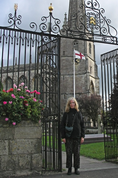 Some of my companions (only 11) on the Mad Max Cotswold tour took a few pictures of me in front of St. Mary's Church in Tetbury. The spire is about three times as high as the church.