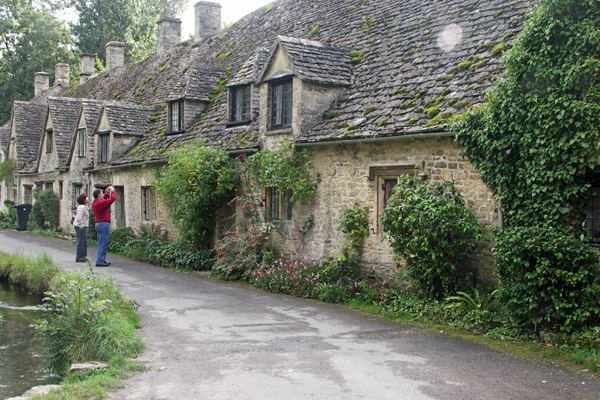 A closer view of Arlington Row, Arlingon, Bibury. When the sun comes out, the stone cottages are yellow grey rather than grey.