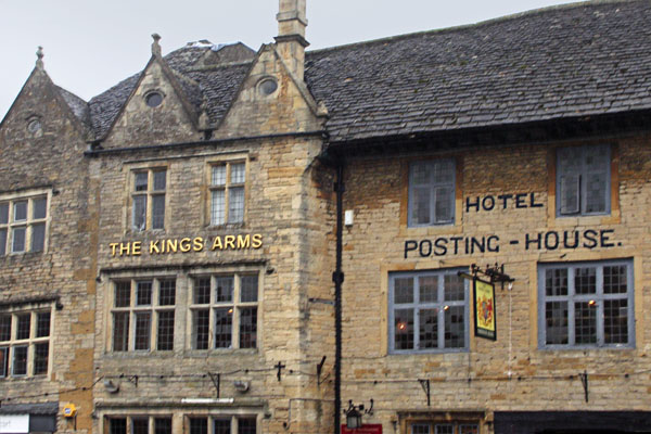 More buildings in the Stow-on-Wold marketplace, including an old posting-house hotel. Stow-on-Wold was a busy marketplace in Roman times, on the Roman Fosse Way on the way to Cheltenham, There are still old Roman stocks in Market square.