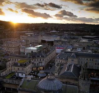 View over Bath from the top of the Abbey with the new Bath spa