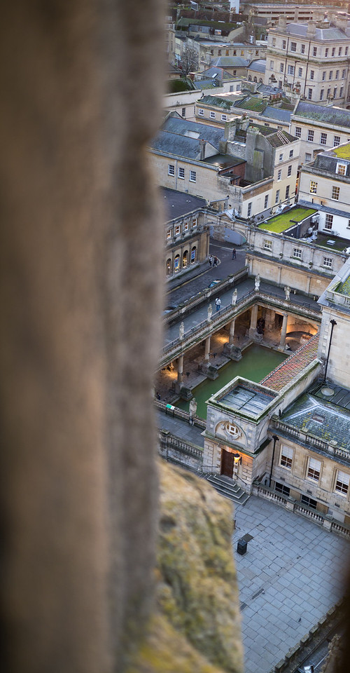 Old Bath spa from the top of the Abbey