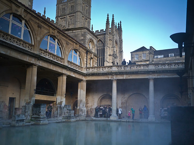 Roman Baths with Abbey in the background