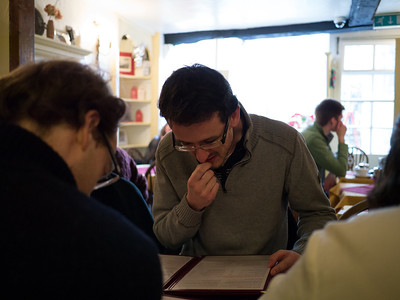 Phil deciding what to have for lunch (Sally Lunn)