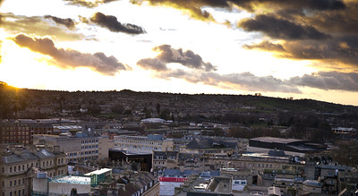 Crop of the new Bath spa from the top of the Abbey