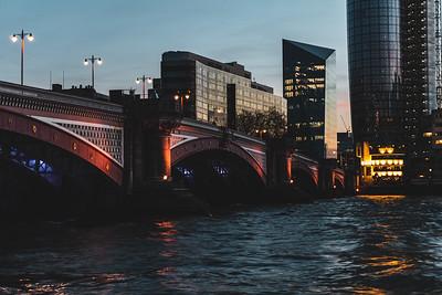 Blackfriar's Bridge at Dusk in London England