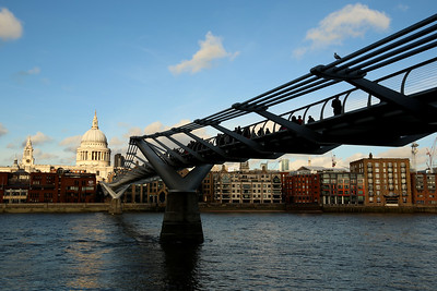 St. Paul's Cathedral & Millennium Bridge, River Thames, London, England