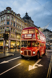 Vintage red double-decker bus in London