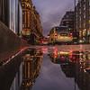 Reflection of Harrods Departmental Store in London.
