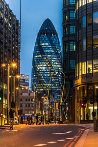 View of The Gherkin at night