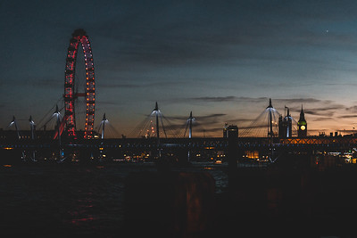 Night Shot of the London Skyline over the Thames