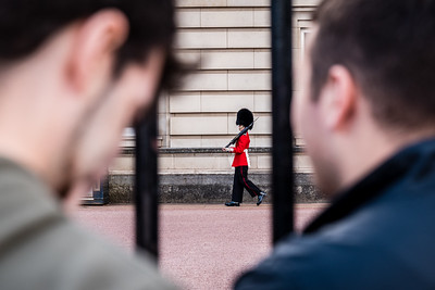 The guardsman on the move at Buckingham Palace