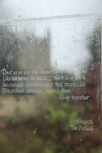Wordsworth quote on glass, West Dean Gardens