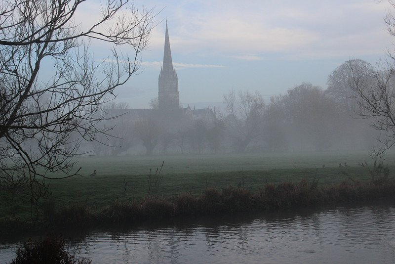 Salisbury Cathedral through the mist